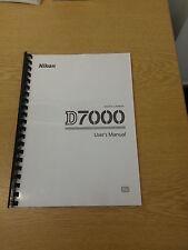 Nikon d7000 fotocamera dgital Stampato COMPLETAMENTE MANUALE UTENTE GUIDA MANUALE 348 pagine a5