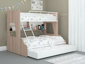 Single Over Double Trio Bunk Bed Shelves Trundle Storage