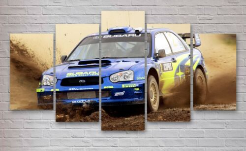 5 Piece Wall Art Subaru Impreza WRX Rally Car 5 Panel Canvas Multi Panel #052