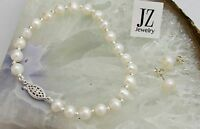 Freshwater Pearl Bracelet with Silver Beads Sterling Silver Filligree Clasp.