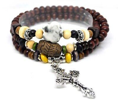 Wood Bead Cross Wrap Bracelet