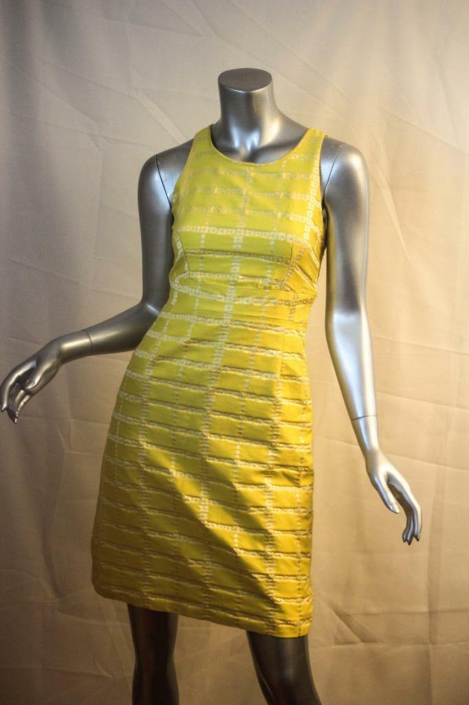 Womans J CREW Collection Lemon Yellow & White Sleeveless Cotton Dress Size 0
