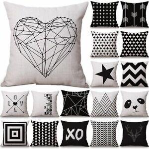Black-amp-White-Geometric-Cushion-Cover-Pillow-Case-Home-Sofa-Waist-Throw-Square-U