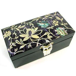 bo te bijoux coffre rangement miroir int gr bois nacre papier hanji cor en ebay. Black Bedroom Furniture Sets. Home Design Ideas