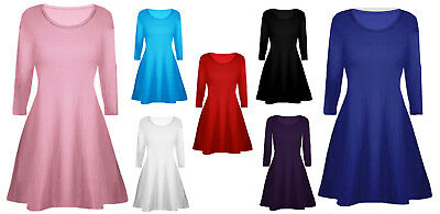 Girls Skater Plain Long Sleeve Summer Swing Dress Bolero Bow Dresses Ages 2-13