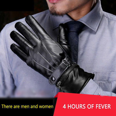 Electric Heated Gloves Outdoor Winter Warmer Leather Rechargeable For Men Women