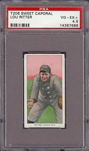 Rare 1909-11 T206 Lou Ritter Sweet Caporal 350 Kansas City ML PSA 4.5 VG - EX +