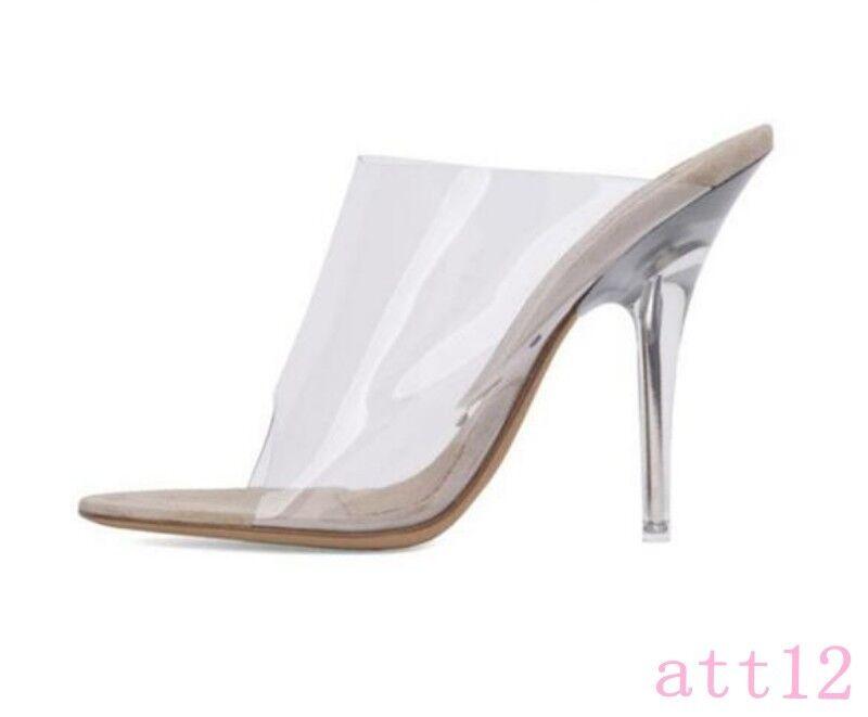 Damen Sandalen Sommer Slingback Pumps Transparent Open Toe Slingback Sommer Loafer Schuhe a43417