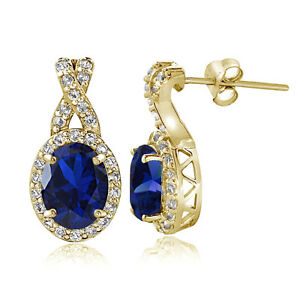 Yellow-Gold-Flashed-Silver-Created-Blue-Sapphire-amp-White-Topaz-Oval-X-Earrings
