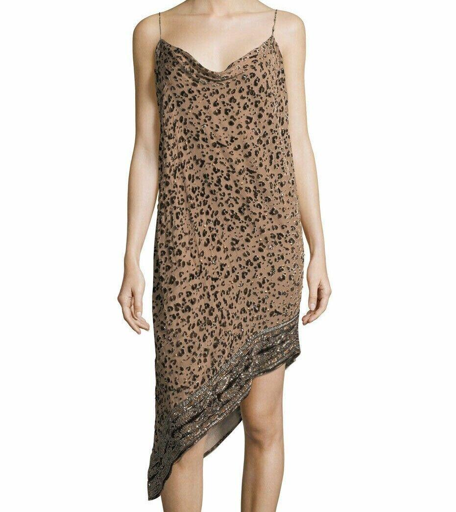 Nwt Haute Hippie Sz4 Sahara Rollkragen Asymmetrischer Saum Leopard Burnout Kleid