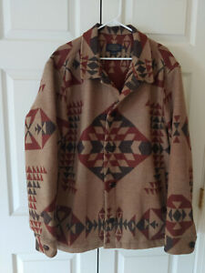 Men Pendleton Camel Basket Maker South Western Aztec Print Wool Coat Size XXL