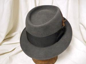 7574641d4b8 Vintage Mallory Durafelt Pork Pie Fedora Hat wide Band Grosgrain ...