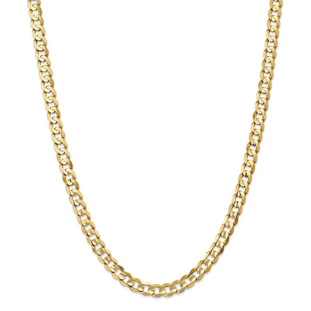 14k Yellow gold 6.75mm Open Concave Curb Link Chain w  Lobster Clasp 18  - 24