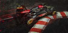 Automotive racing car art large giclee print 2013 Lotus F1 Kimi Raikkonen Monaco
