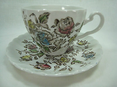 Johnson Brothers Staffordshire Bouquet Flat Cup and Saucer