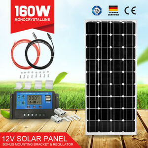 12V-160W-Solar-Panel-Mono-amp-20A-Regulator-amp-5m-Cables-amp-4PC-Mounting-Brackets