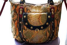 Marino Orlandi Italian Designer Goldtone Python Leather bag NWT
