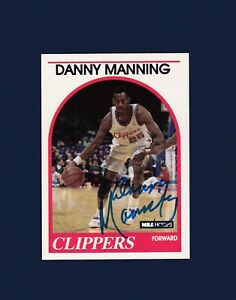 Danny Manning signed Los Angeles Clippers 1989 Hoops Rookie basketball card