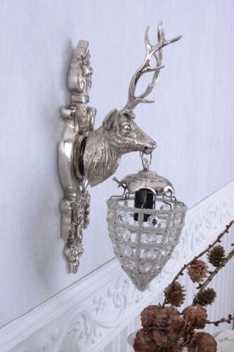 Wandleuchte Antik Lampe Hirsch Wandlampe Silber Hirschkopf Wandlüster Wandfigur