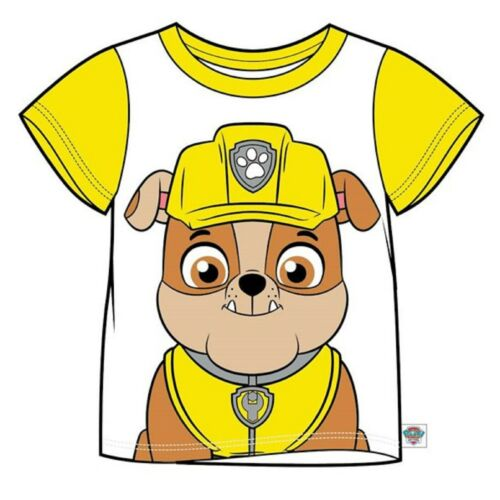 PAW PATROL Boys//Girls RUBBLE Short-Sleeved Face T-Shirt//Top Sizes 2-7 years NWT