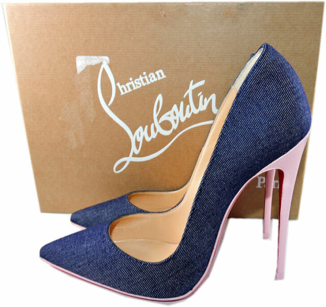 factory price 398da 18c14 Christian Louboutin so Kate Pointy Toe 120 Pump Shoe Denim Blue Pompadour 38