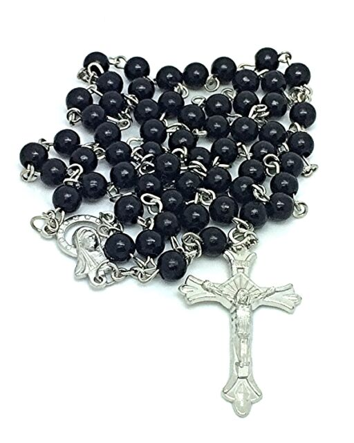 RHODIUM/P Black CATHOLIC Rosary BEADS Virgin MARY Centerpiece Includes FOIL Box