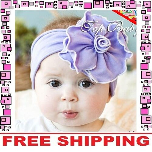 Purple Cotton Flower Bow Headband Hairband Girls Baby Infant Toddler Children