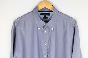 Tommy Hilfiger Mens Long Sleeve Cotton Striped Slim Fit Casual Shirt Top S 2XL