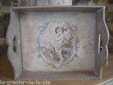 plateau en bois patiné décoration ange cupidon angelot ANTIC LINE 30x24cm NEUF