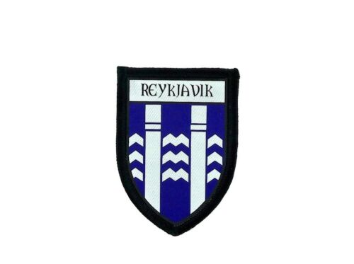 Patch printed embroidery travel souvenir shield city flag reykjavik iceland