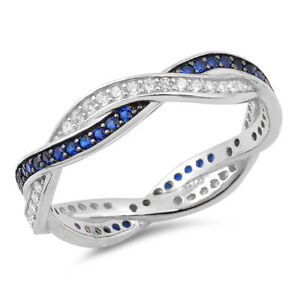 Eternity Twist Infinity Knot Clear CZ Ring .925 Sterling Silver Band Sizes 5-10