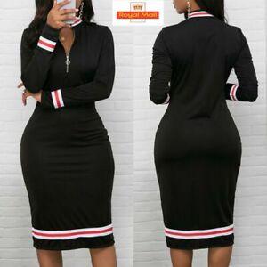 Women-Long-Sleeve-Bodycon-Dress-Ladies-V-Neck-Front-Zip-OL-Party-Slim-Midi-Dress