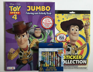 Lot-Of-3-Disney-Toy-Story-4-Jumbo-Coloring-Activity-Book-Stickers-amp-Crayons