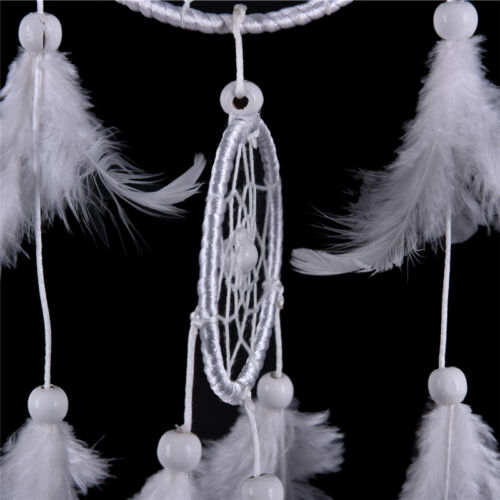 White Dream Catcher Circular With Feathers Wall Hanging Decoration Decor Craft ~