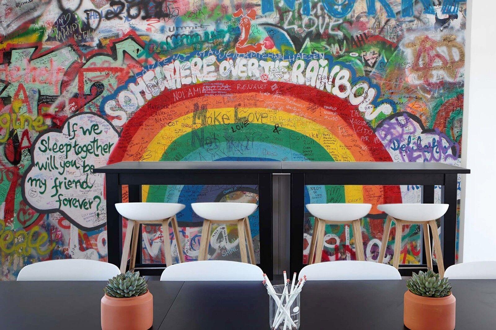 3D Regenbogen Graffiti 991 Tapete Wandgemälde Tapete Tapeten Bild Familie DE