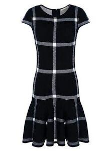Details about Alice + Olivia Selma Plaid Sweater Dress Knit Drop Waist Black Size XS NWOT