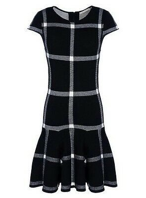 Olivia Selma Plaid Sweater Dress Knit  Drop Waist Black Size XS NWOT Alice