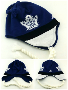 30f09926d3aced Toronto Maple Leafs New Adidas Toboggan Beanie Toque Knit White Blue ...