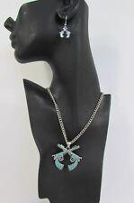 "New Women 16"" Turquoise Beads Chains Necklace Western Metal Pistol Gun Pendant"