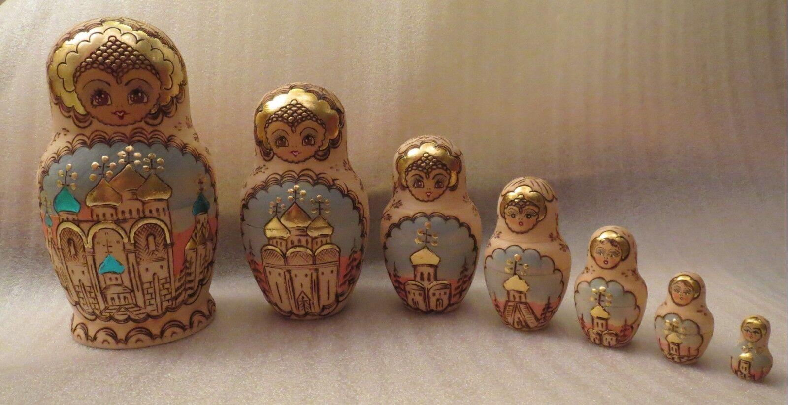 Sergiev Posad 7 Pieza Matryoshka Muñeca, Muñeca Vintage Ruso firmado, Fine & Raro