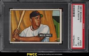 1951-Bowman-Willie-Mays-ROOKIE-RC-305-PSA-6-EXMT
