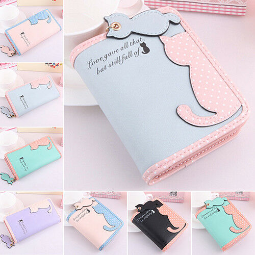 Lady Cute Cat Pandent Short Long Purse Card Holder Zipper Coin Bag Wallet Intrig Clothing, Shoes & Accessories