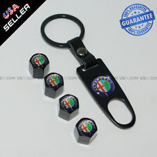 Black Car Wheel Tire Valve Dust Stems Air Caps + Keychain With Alfa Romeo Emblem