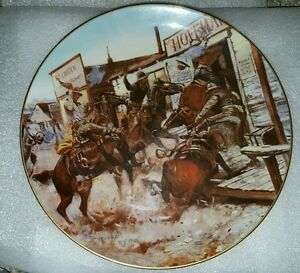 """11"""" Diam Large Gorham Plate 1864 - 1926 Wildwest Series IN WITHOUT KNOCKING"""