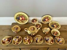 Ultra Rare and Incredible Aynsley Golden Orchard D1019 Teapot Set ~ 26 Pieces!!!