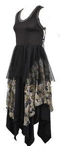 Long-Corset-Gothic-Dress-Handkerchief-S-M-10-12-Steampunk-Raven-Bat-Lace
