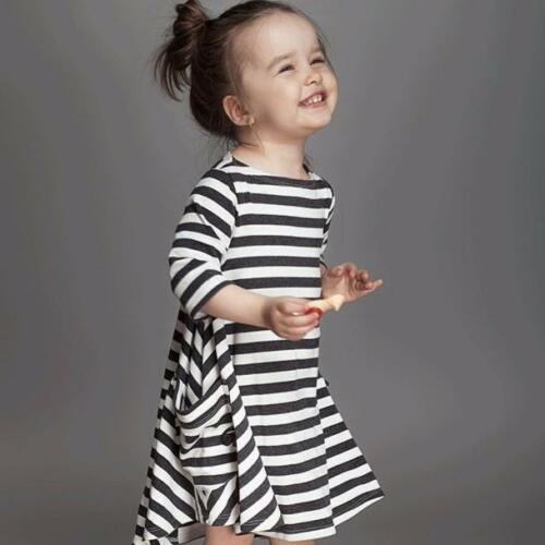 Mother Daughter Dresses Women Kids Girl Long Sleeve Striped Dress Family Clothes