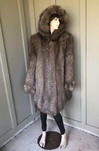 Bust-42-Genuine-Fur-Fox-Coat-Jacket-Stroller-With-Hood-Size-M-L-No-Mink