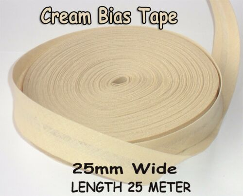 25mm //1 inch CREAM Cotton Bias Binding Tape Folded Trimming Edging 25 meter roll