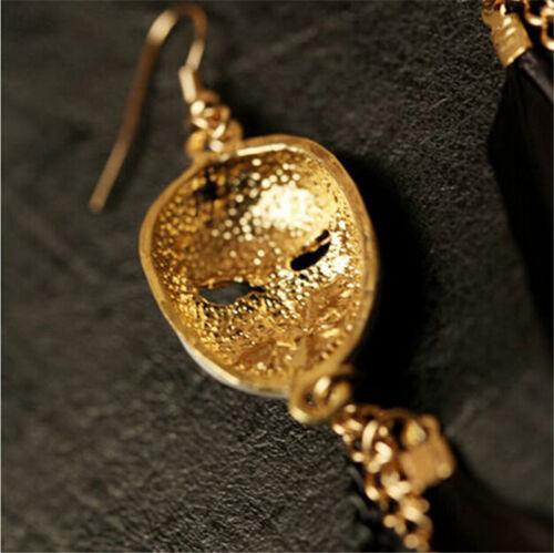 Unique Baroque Chain Feather Tassel Chain Mask Long Drop Earrings for Women CH